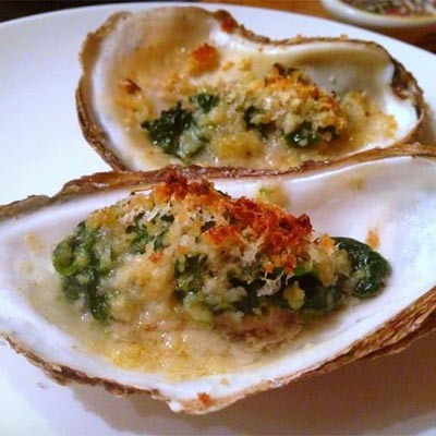 Gratinées Oysters cooked
