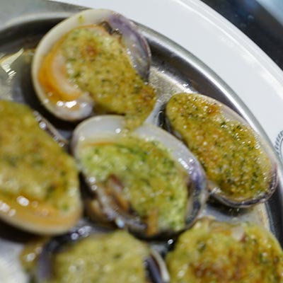 Baby Clams or Carpet shells, stuffed garlic and parsley butter